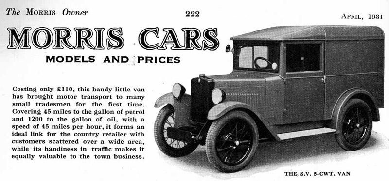 1931 S.V. Minor 5 cwt van