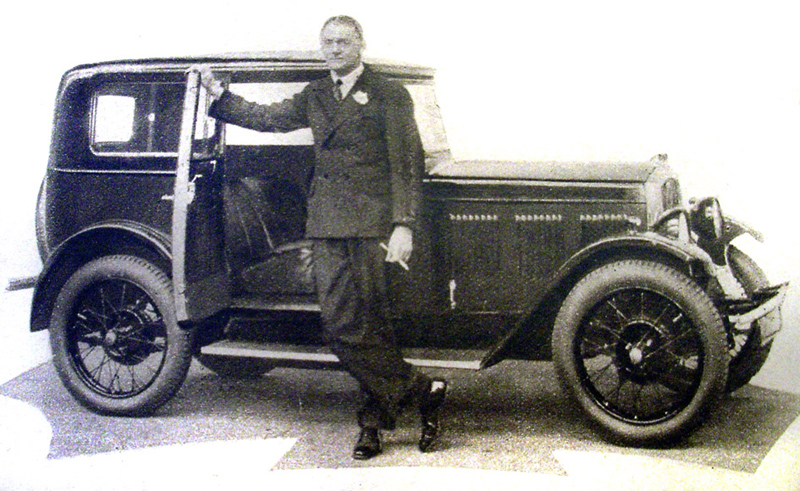 William Morris alongside 1930 Wolseley Hornet Saloon September 1930