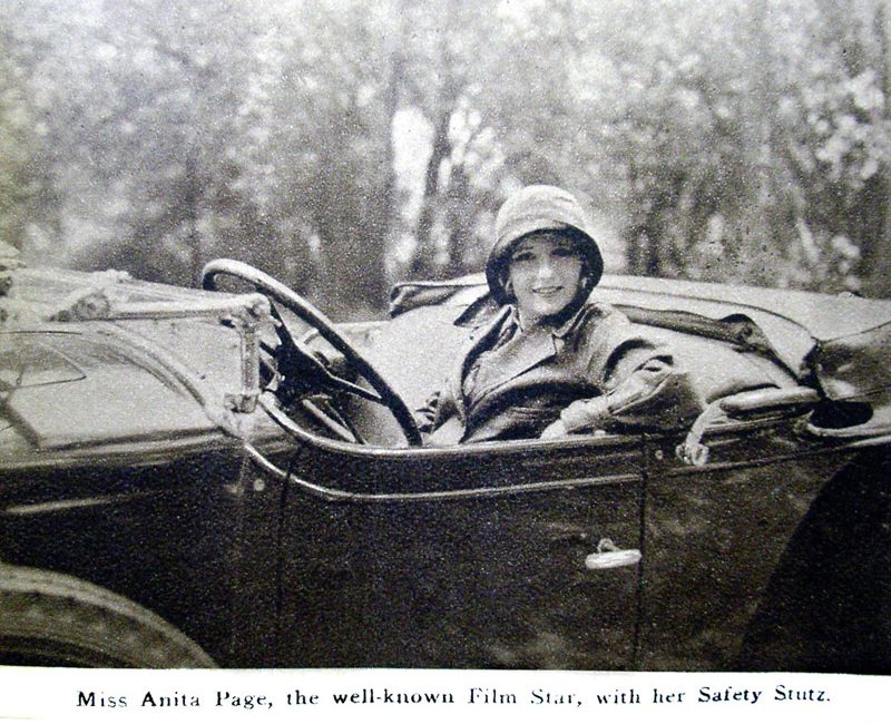 Miss Anita Page (film star) posing in a Safety Stutz