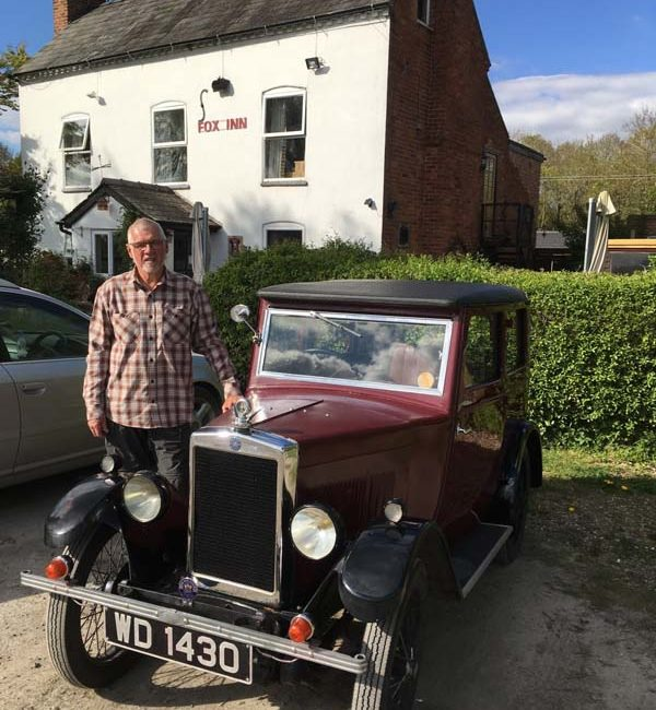 Stuart Clark with his 1930 Coachbuilt Saloon at The Fox Inn, Worcestershire