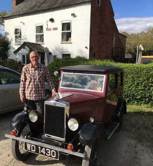 Stuart Clark with his 1930 Coachbuilt Saloon at The Fox Inn, Worcestershire