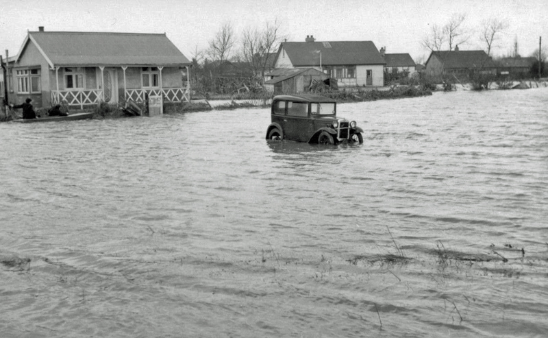 Austin Seven caught-up in Canvey Island floods 1953