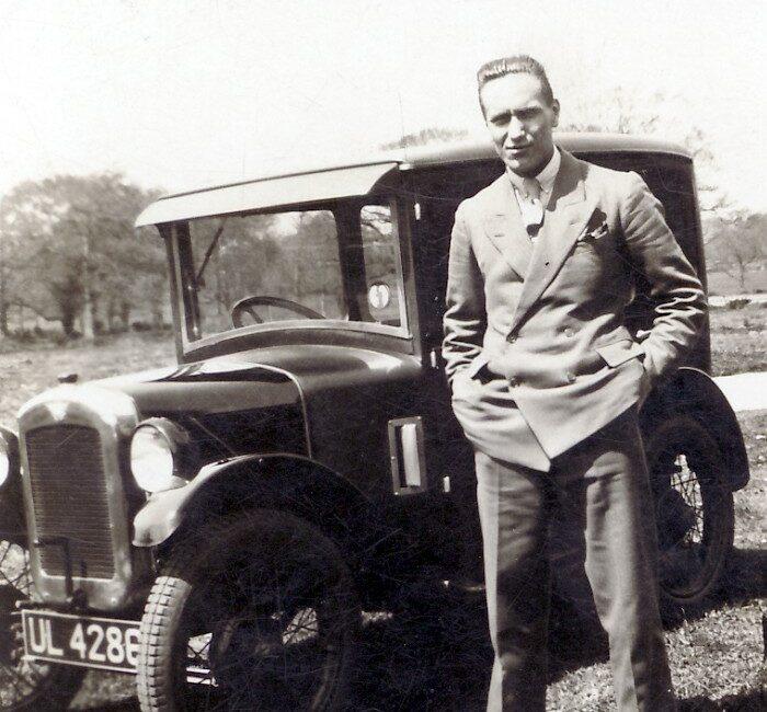 J.D. Lambert Austin Seven on honeymoon May 1930 snapshot
