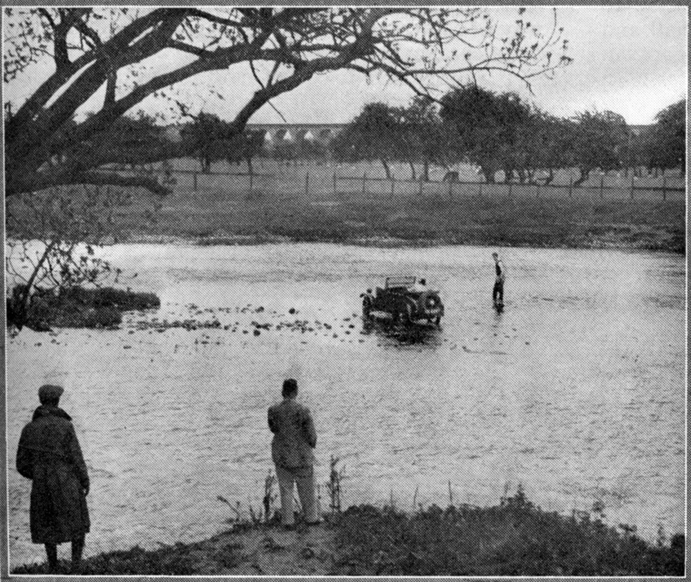 Minor Two-seater crossing the River Wharfe Yorks Morris Owner Aug 1936 ws