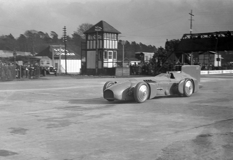 Demonstrating Bluebird at Brooklands