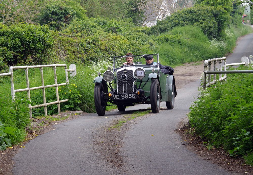 2019 VSCC Suffolk Tour1934 Abbey bodied EW Wolseley Hornet Special VE 9956 with young pilot