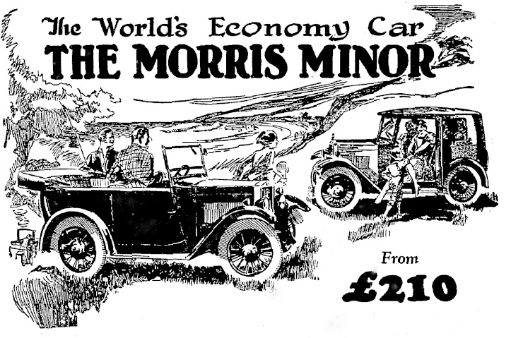 December 1929 Otago Daily Times Morris Minor ad advertisement header