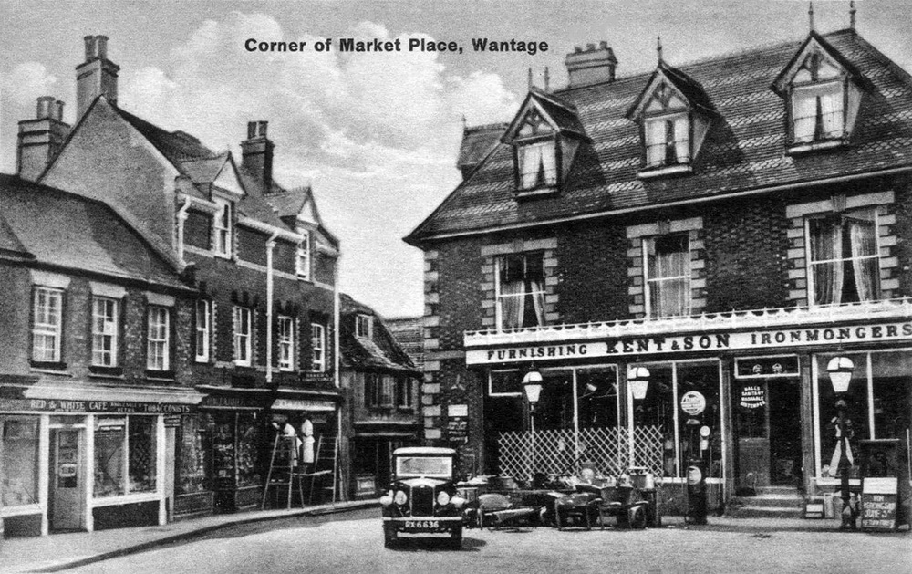 Wantage postcard with 1930 Wolseley Hornet RX 6636 ed ws