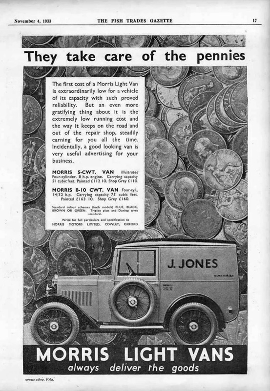 1934 Minor 5 cwt van advertisement Fish Trades Gazette November 1933 ed ws