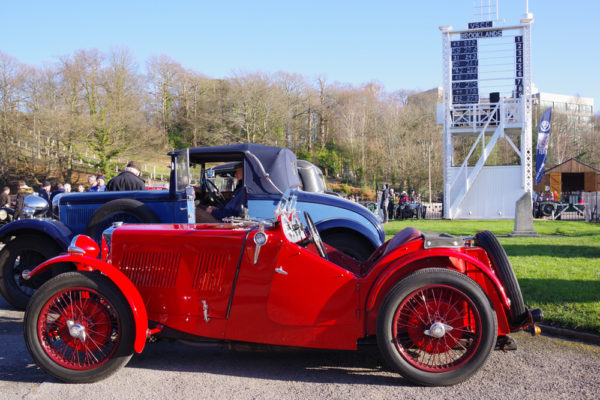VSCC NY Driving Tests 2020 Brooklands 1930 MG J2 and scoreboard