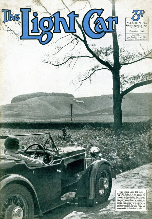 The Light Car cover Swallow Hornet 13th April 1934 Cherhill White Horse ws