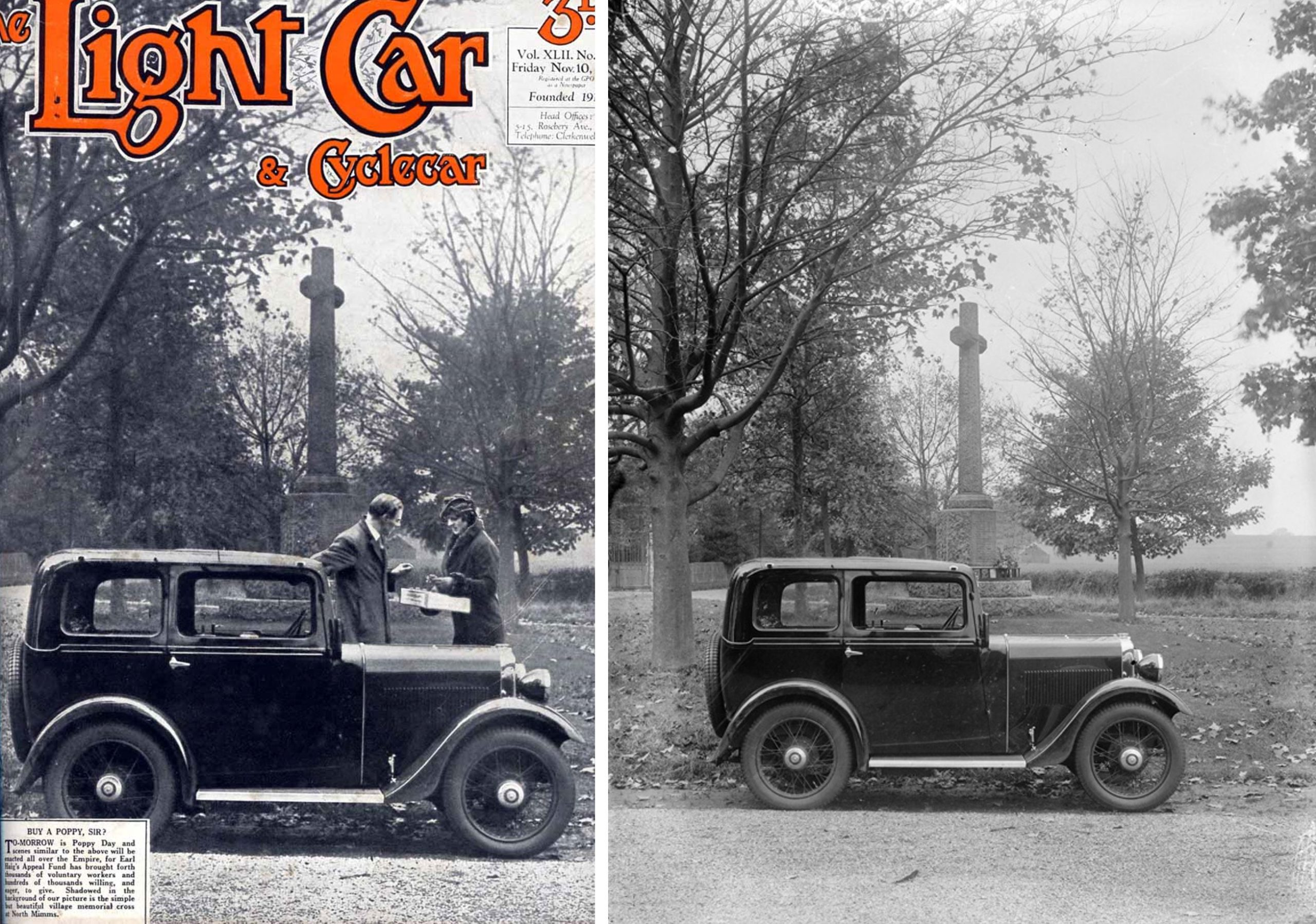 November 1933 Light Car cover & Temple Press plate image of 1934 Minor Saloon Rememberance Day