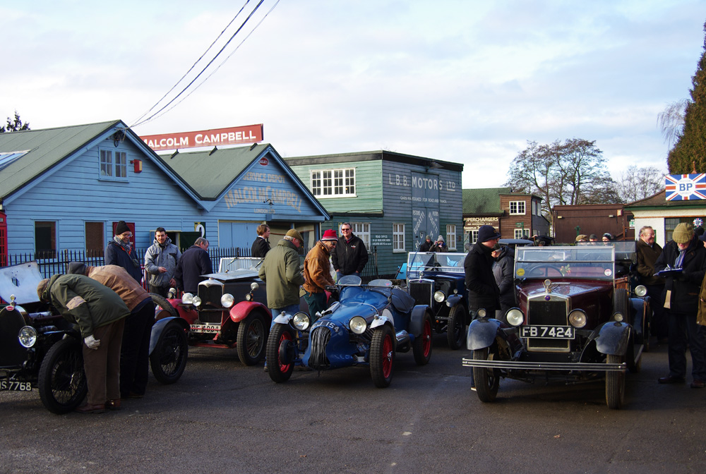 VSCC Brooklands Driving Tests 1st February 2015 with Hornet Aerees Special ACJ 154 and DG 325 Minor ws