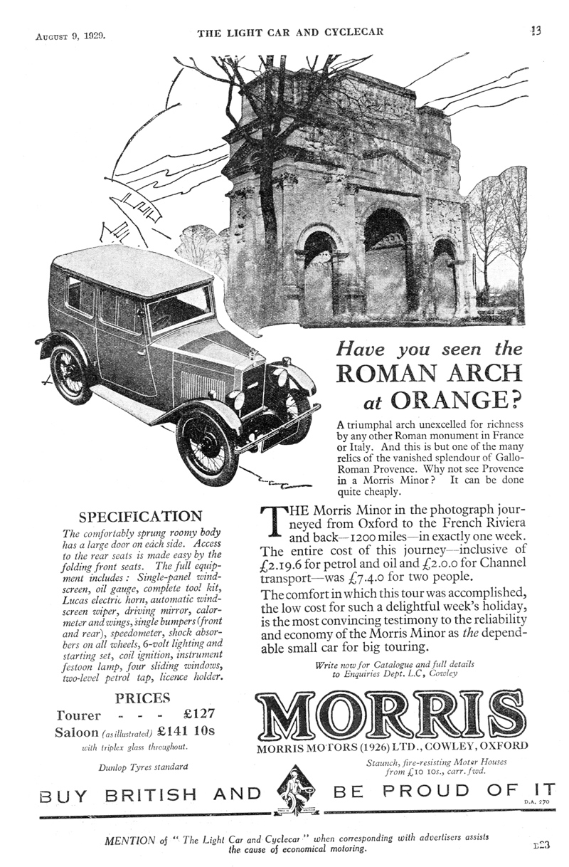 Light Car LC Minor Fabric Saloon ad August 9th 1929 edited ws