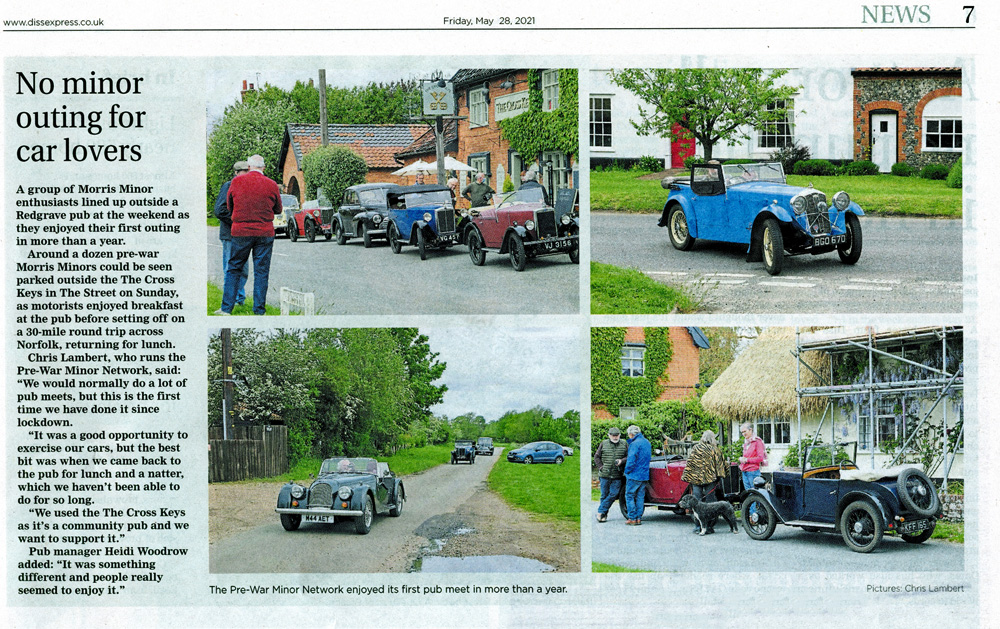 Spring 2021 Pub meet Diss Express 28th May cutting snippet